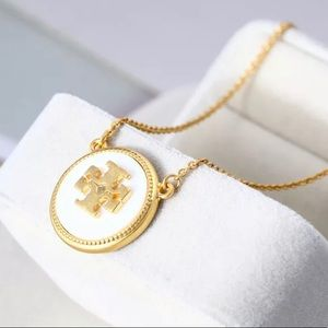 Tory Burch Enameled White on Gold Logo Necklace